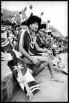 Black and white photograph of Naga Dancer at Hornbill Festival, Kohima, Nagaland, INDIA.